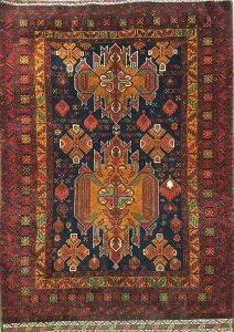 שטיח פרסי עבודת יד קולקציה בלוץ' דגם 1601 צבע רקע אדום