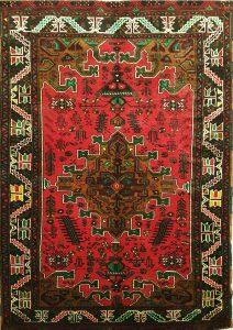 שטיח פרסי עבודת יד קולקציה בלוץ' דגם 1604 צבע רקע אדום