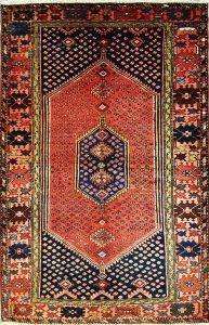 שטיח פרסי עבודת יד קולקציה המדאן דגם 913 בצבע רקע אדום