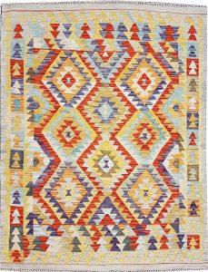 שטיח פרסי עבודת יד קילים דגם 1721 ציבעוני דו-צדדי צורות גיאומטריות