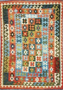 שטיח פרסי עבודת יד קילים דגם 1725 ציבעוני דו-צדדי צורות גיאומטריות