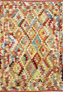שטיח פרסי עבודת יד קילים דגם 1726 ציבעוני דו-צדדי צורות גיאומטריות