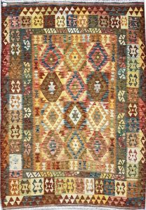 שטיח פרסי עבודת יד קילים דגם 1727 ציבעוני דו-צדדי צורות גיאומטריות