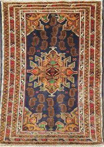 שטיח פרסי עבודת יד קולקציה בלוץ' דגם 1605 צבע רקע כחול