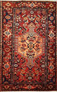 שטיח פרסי עבודת יד קולקציה המדאן דגם 921 בצבע רקע אדום