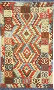 שטיח פרסי עבודת יד קילים דגם 1722 ציבעוני דו-צדדי צורות גיאומטריות