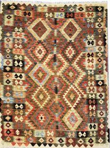 שטיח פרסי עבודת יד קילים דגם 1723 ציבעוני דו-צדדי צורות גיאומטריות