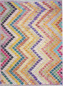 שטיח פרסי עבודת יד קילים דגם 1724 ציבעוני דו-צדדי צורות גיאומטריות