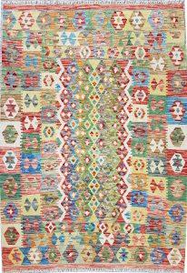 שטיח פרסי עבודת יד קילים דגם 1728 ציבעוני דו-צדדי צורות גיאומטריות