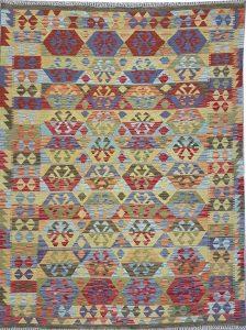 שטיח פרסי עבודת יד קילים דגם 1730 ציבעוני דו-צדדי צורות גיאומטריות