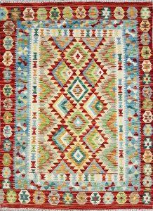 שטיח פרסי עבודת יד קילים דגם 1731 ציבעוני דו-צדדי צורות גיאומטריות