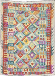 שטיח פרסי עבודת יד קילים דגם 1732 ציבעוני דו-צדדי צורות גיאומטריות