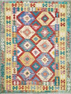 שטיח פרסי עבודת יד קילים דגם 1733 ציבעוני דו-צדדי צורות גיאומטריות