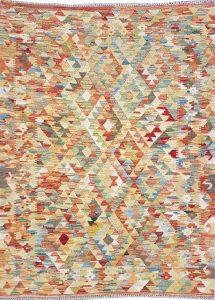 שטיח פרסי עבודת יד קילים דגם 1734 ציבעוני דו-צדדי צורות גיאומטריות